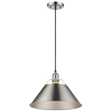 "Golden Lighting Orwell PW 1-Light Pendant - 14"" in Pewter with Pewter Shade, , large"