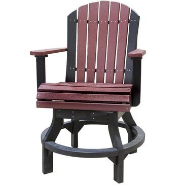 Amish Orchard Poly Adirondack Swivel Chair in Cherrywood and Black, , large