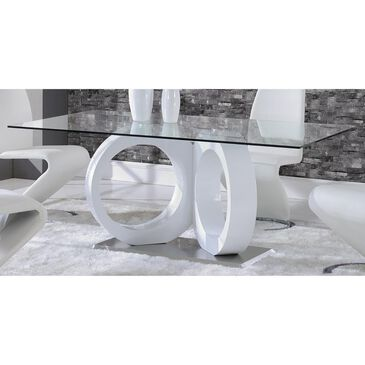 Global Furniture USA Rectangular Dining Table in Chrome and White - Table Only, , large