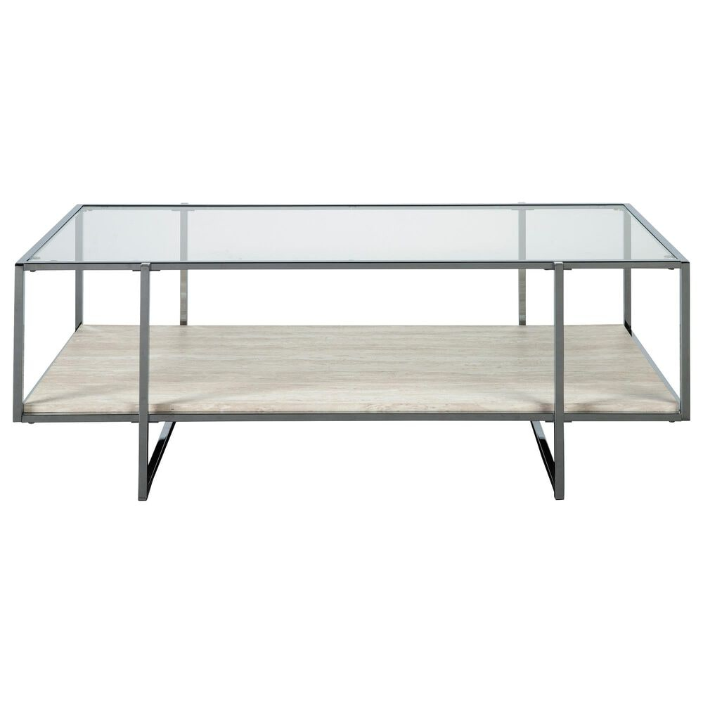Signature Design by Ashley Bodalli Rectangular Cocktail Table in Faux Travertine Marble and Chrome, , large