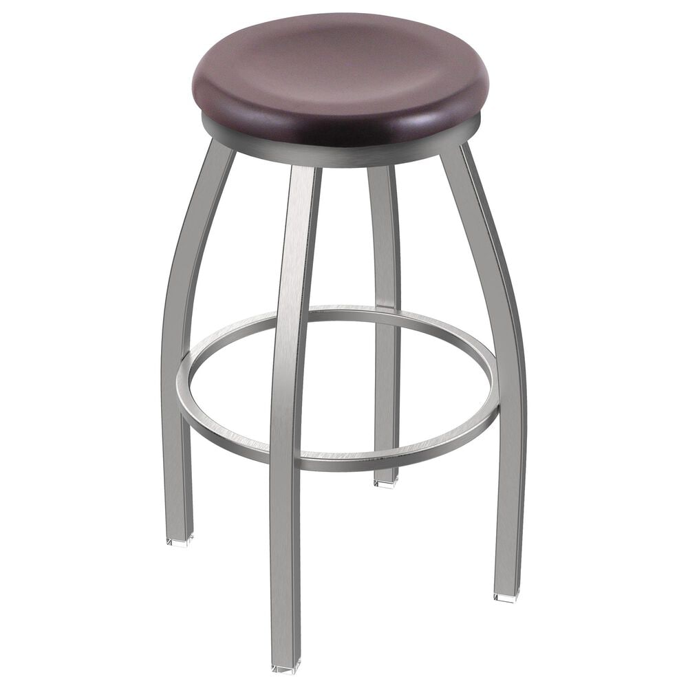 """Holland Bar Stool 802 Misha 25"""" Swivel Counter Stool with Stainless and Dark Cherry Maple Seat, , large"""