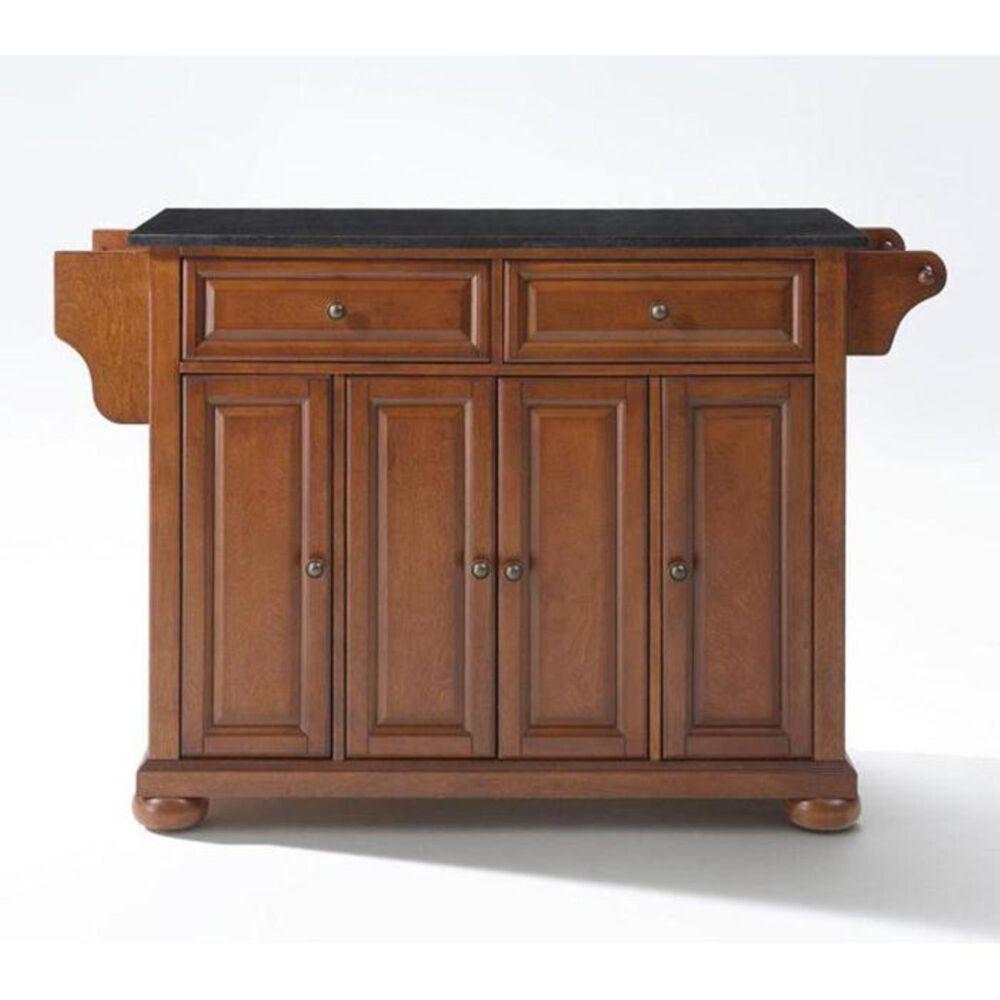 Crosley Furniture Alexandria Solid Black Granite Top Kitchen Island in Classic Cherry, , large