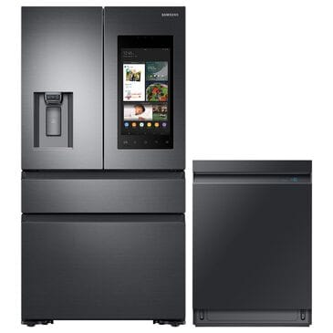 """Samsung 2-Piece Kitchen Package with 36"""" French Door Refrigerator and Linear Wash Dishwasher in Black Stainless Steel, , large"""
