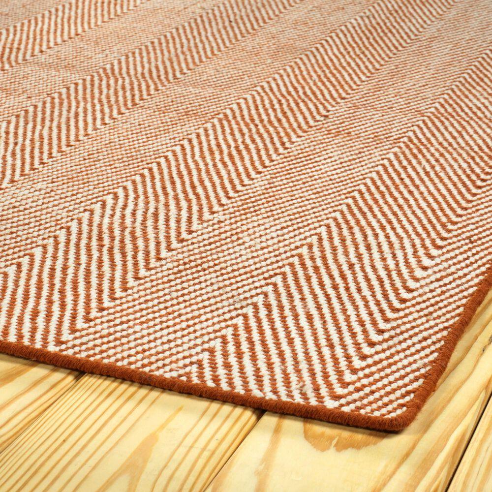Kaleen Rugs Ziggy ZIG01-89 8' x 10' Orange and White Indoor/Outdoor Area Rug, , large