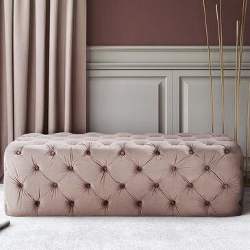 Tov Furniture Kaylee Ottoman in Mauve Velvet, , large