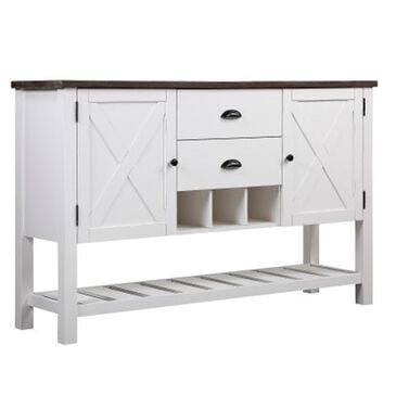 Golden Wave Furniture Mountain Retreat Server in White and Dark Mocha, , large