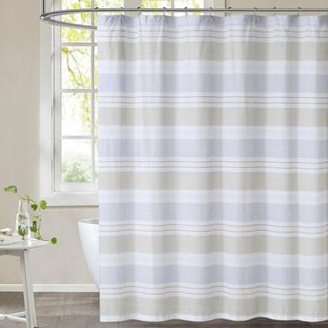 Pem America Cottage Classics Spa Shower Curtain in Blue and Tan, , large