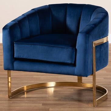Baxton Studio Tomasso Lounge Chair in Dark Royal Blue/Gold, , large