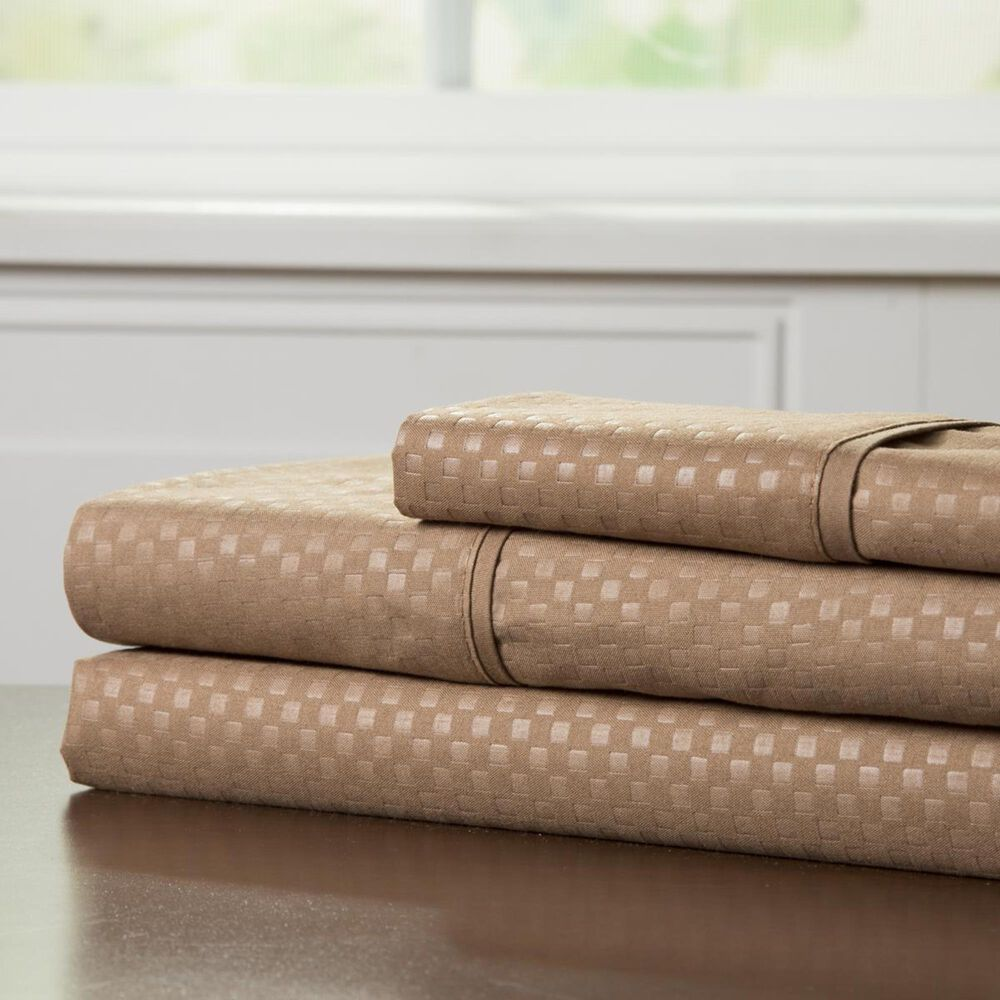 Timberlake 90 GSM Queen Embossed Sheet Set in Taupe, , large