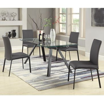 Monroe Aida 5-Piece Dining Set in Clear and Matte Black, , large