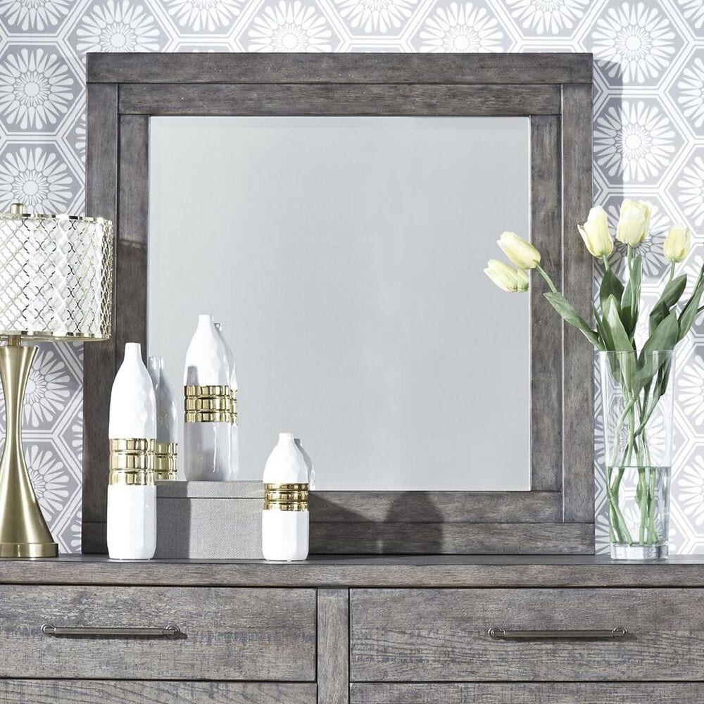Belle Furnishings Modern Farmhouse Dresser and Mirror in Dusty Charcoal, , large