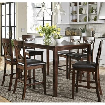 Belle Furnishings Thornton 7-Piece Counter Height Dining Set in Russet, , large