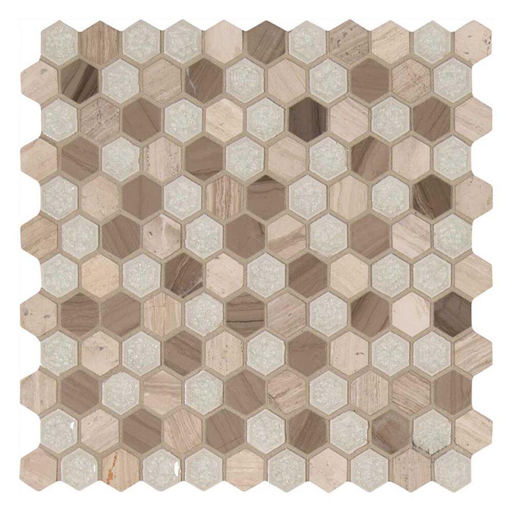 "MS International Hexham Blend Hexagon 12"" x 12"" Glass and Stone Mix Mosaic Sheet, , large"