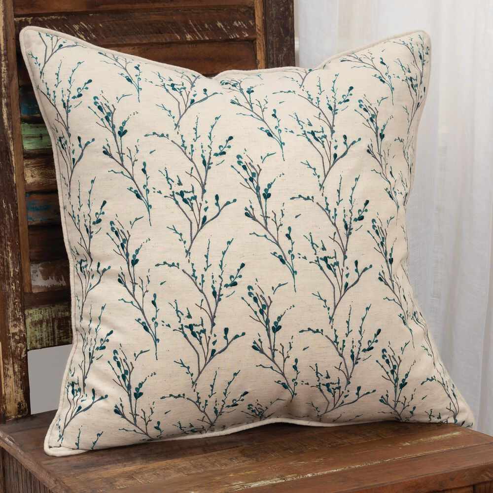 """Rizzy Home Floral 20"""" Poly Filled Pillow in Natural, , large"""
