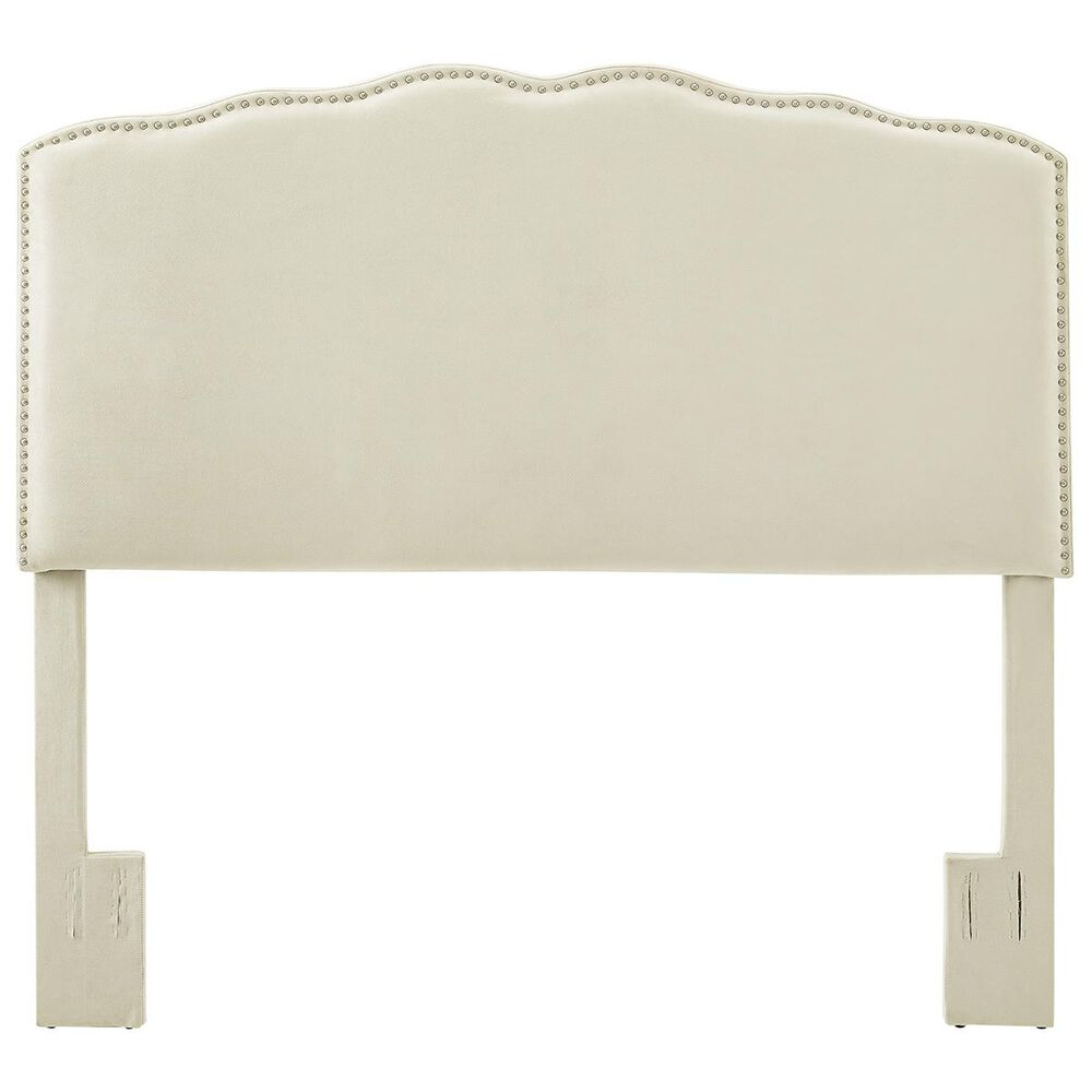 Accentric Approach Accentric Accents Benton King/Cal King Upholstered Headboard in Bella Linen White, , large