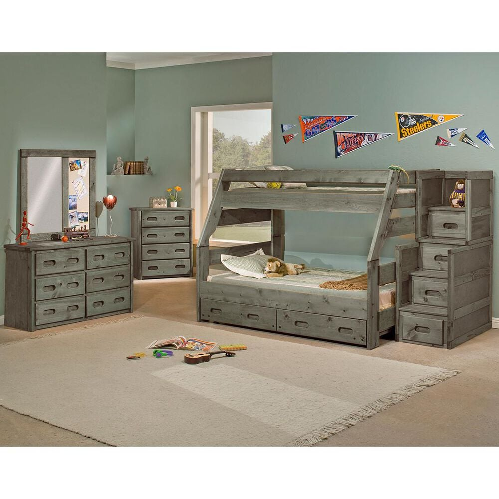 Timber Point Bunkhouse Stairway 4 Drawer Chest in Driftwood Gray, , large