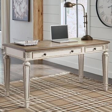Signature Design by Ashley Realyn Home Office Desk in White and Brown, , large