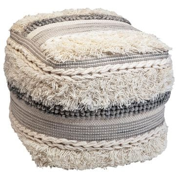 Blue Sun Designs Visev Pouf in Ivory and Grey Wool, , large