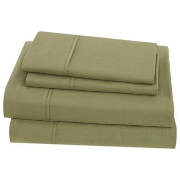 Pem America Classic Cotton 4-Piece Full Sheet Set in Olive Green, , large