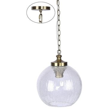 Grandview Gallery Crackle Metal and Glass Pendant Light in Plated Gold, , large