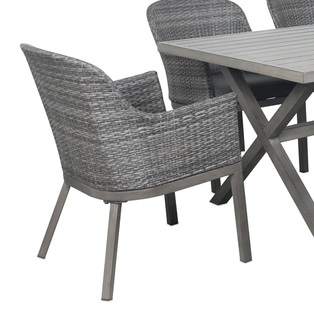 Global Note Collections Lakeside 6-Piece Steel Dining Set in Grey, , large