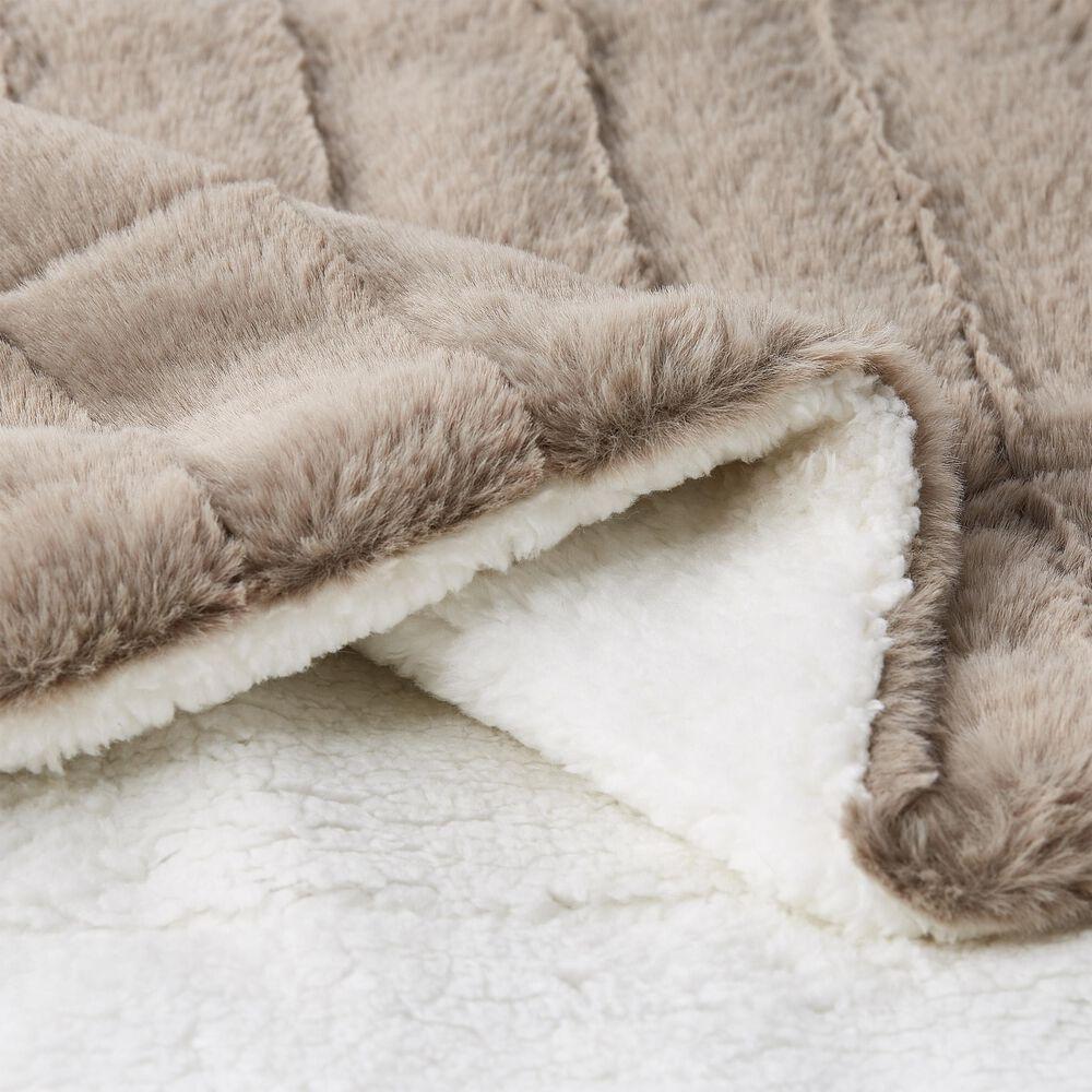 Timberlake Lavish Home Faux Rabbit Fur Jacquard Throw in Coffee, , large