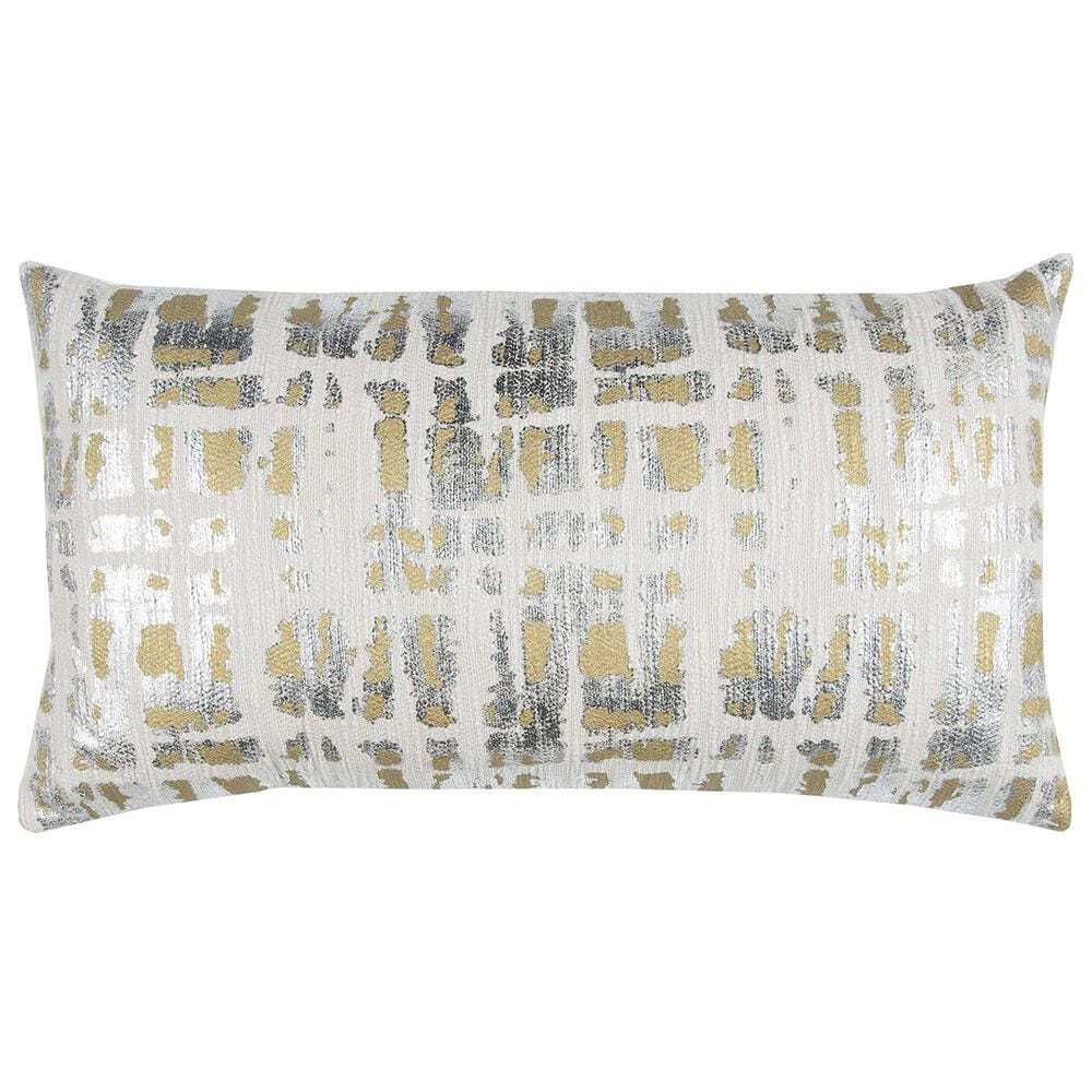"""Rizzy Home Donny Osmond 14"""" x 26"""" Down Pillow in Gold and Silver, , large"""