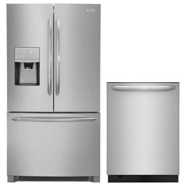 """Frigidaire French Door Refrigerator and 24"""" Fully Integrated Bar Handle Dishwasher Kitchen Package in Stainless Steel, , large"""