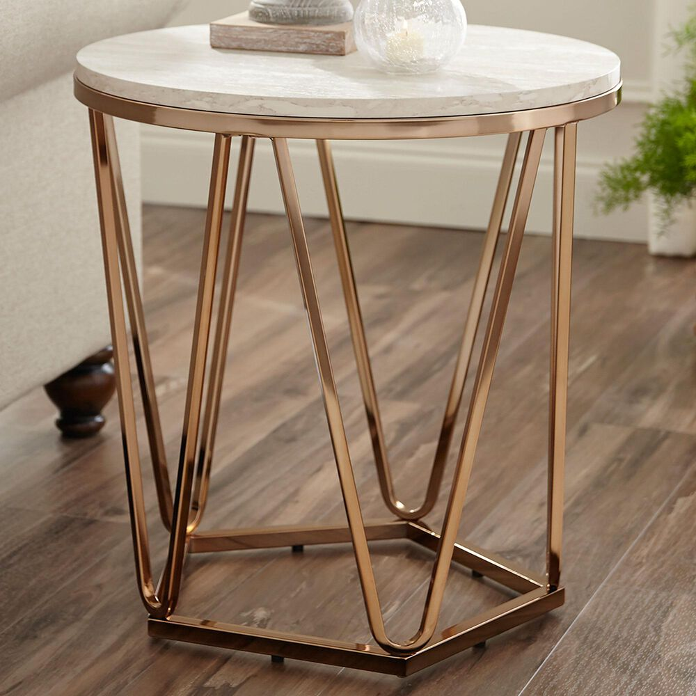 Southern Enterprises End Table in Champagne/Faux Travertine, , large