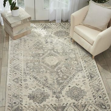 "Nourison Fusion FSS11 7'10"" x 10'6"" Cream and Gray Area Rug, , large"
