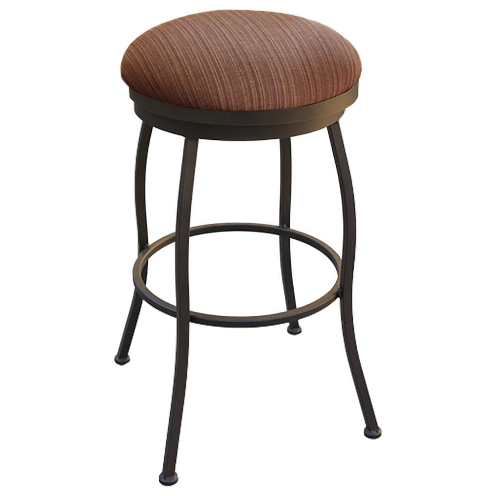 "Delaware Dining Fairview 30"" Backless Patio Swivel Barstool with Dupione Oak Seat in Sun Bronze, , large"
