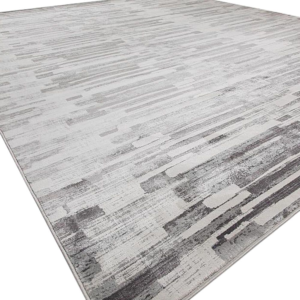 Harounian Rugs Sunbrella S10-15D 5' x 8' White and Grey Area Rug, , large