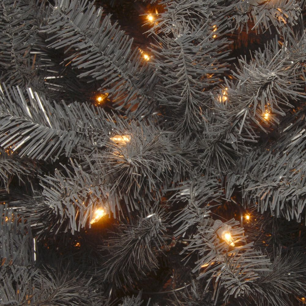 National Tree 7.5' North Valley Black Spruce Tree with White Lights, , large