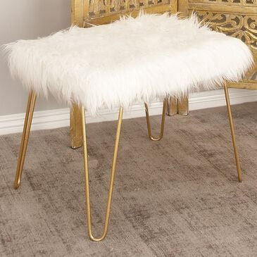 Maple and Jade White Faux Fur Bench with Gold Legs, , large