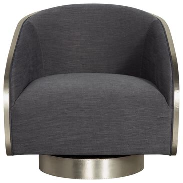Bernhardt Miles Swivel Chair with Blue Cushion in German Silver, , large