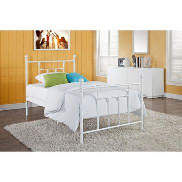 Dorel Manila Twin Metal Bed in White, , large