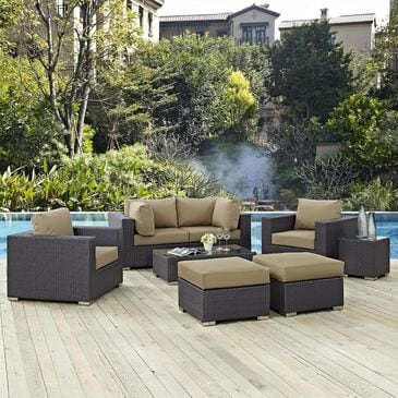 Modway Convene 8-Piece Outdoor Patio Conversation Set in Espresso and Mocha, , large