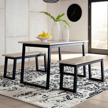 Signature Design by Ashley Waylowe 3-Piece Dining Table Set in Natural Wood, , large
