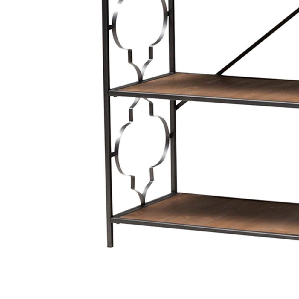 Baxton Studio Mirna 5-Shelf Accent Bookcase in Natural Oak and Black, , large
