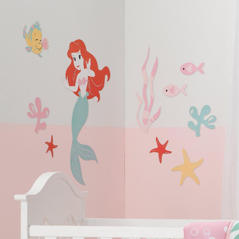 Lambs and Ivy Disney Baby Ariel's Grotto Mermaid Wall Decal in Pink, Red and Green, , large