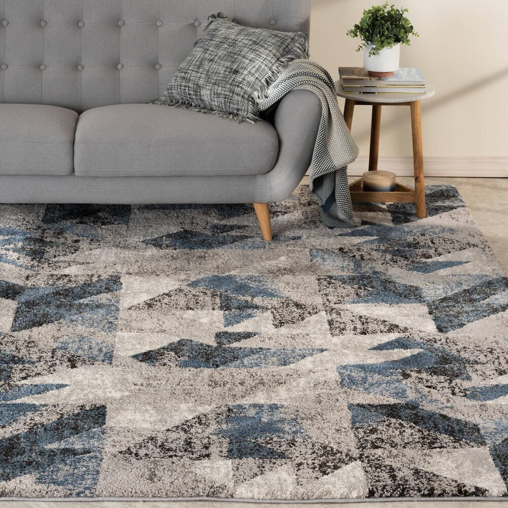 """Central Oriental Structures Torrent Neola 6310LE 6'6"""" x 9'6"""" Cloud and Metal Area Rug, , large"""
