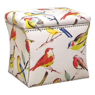 Skyline Furniture Nail Button Storage Ottoman in Birdwatcher Summer, , large