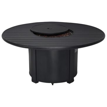 """Winston Manor 54"""" Round Slat Fire Pit in Night with Amber Fire Glass , , large"""