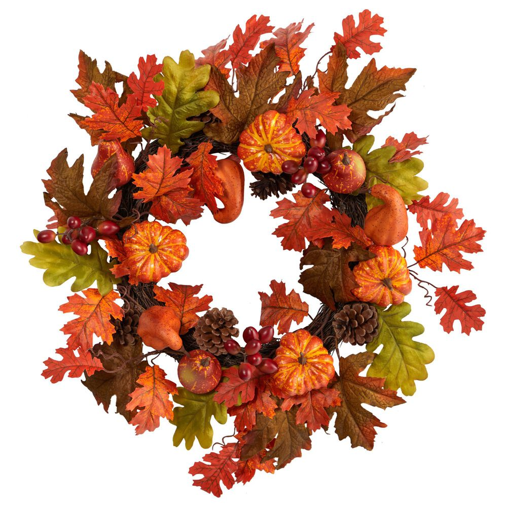 Nearly Natural Inc 20in. Autumn Assorted Maple Leaf, Pumpkin Gourd, Pinecone and Berry Artificial Fall Wreath, , large