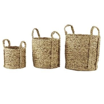 Maple and Jade Natural Dried Plant Material Basket in Brown Set of 3, , large