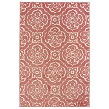 "Oriental Weavers Barbados 539O4 5'3"" x 7'6"" Pink and Ivory Area Rug, , large"