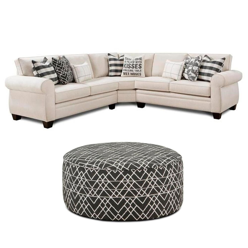 Xenia 3-Piece Sectional and Ottoman in Popstitch Shell, , large