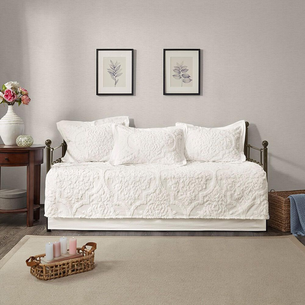 Hampton Park Viola 5-Piece Tufted Cotton Chenille Daybed Set in Off White, , large