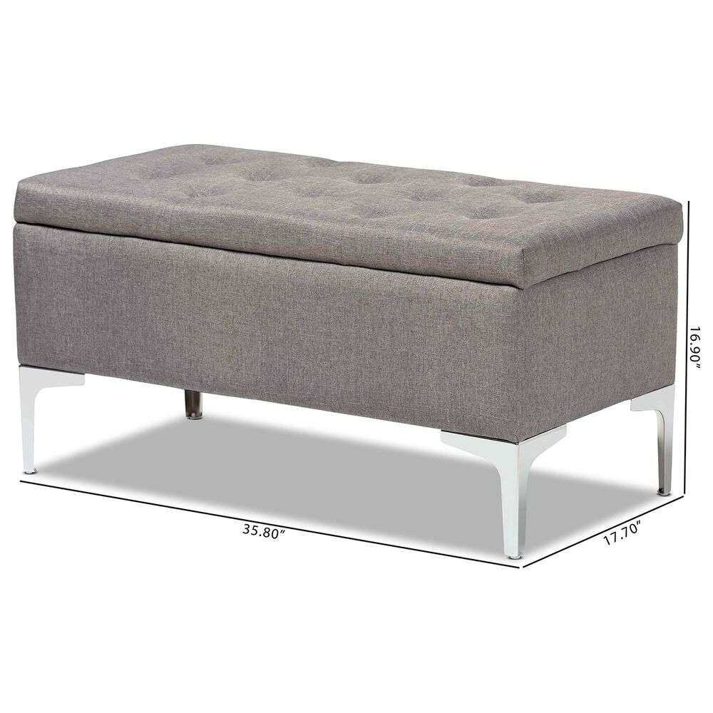 Baxton Studio Mabel Storage Ottoman in Grey and Silver, , large