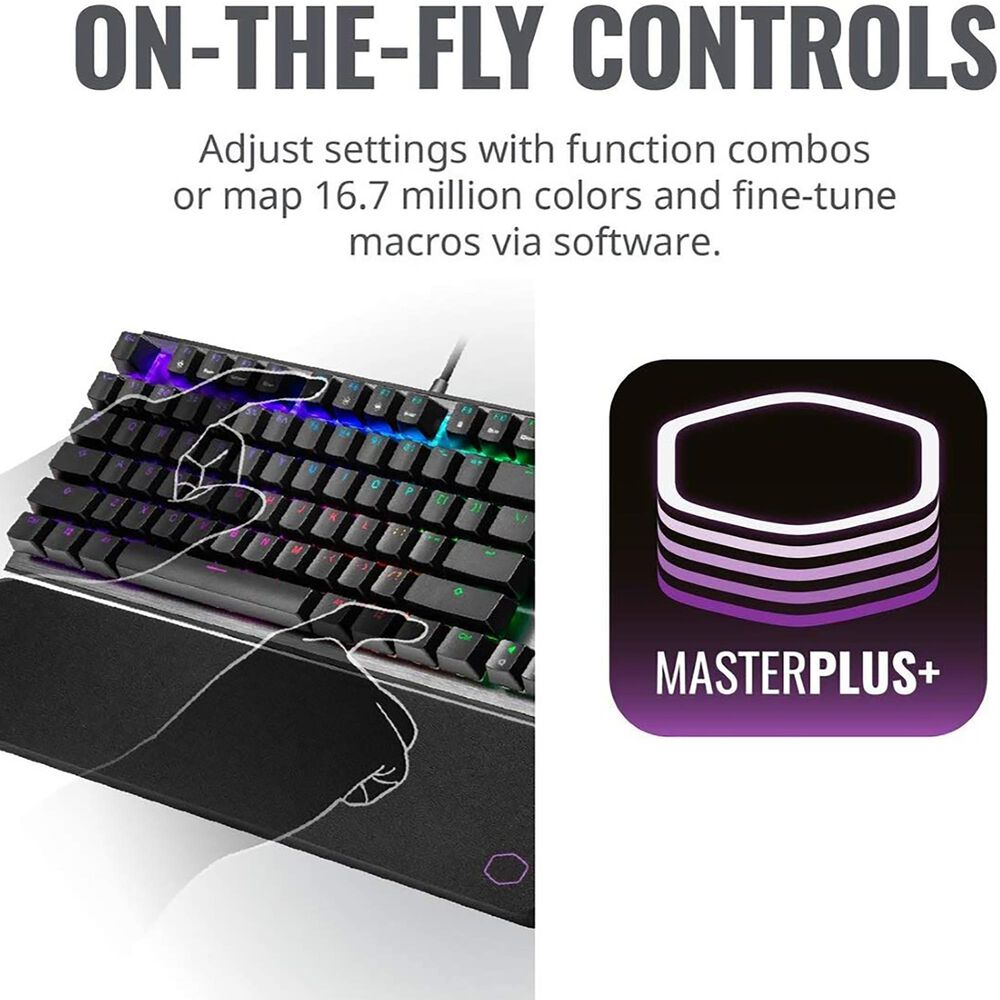 Cooler Master CK530 V2 Tenkeyless Gaming Mechanical Keyboard Red Switch with RGB Backlighting, On-The-Fly Controls, and Aluminum Top Plate, , large